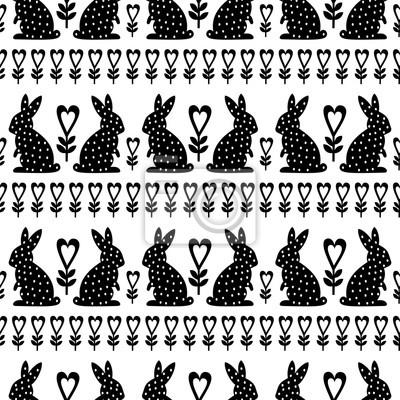 Fototapete Ostern Muster mit Osterhase und Blumen auf weißem Hintergrund. Schwarz und weiß nahtlose Frühling Holiday Background. Nette Ostern-Abbildung.