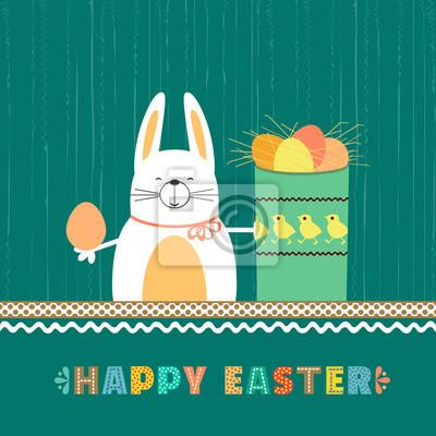 Ostern-Tageskaninchenhäschen, Eier im Kasten. Glückliches christliches Sonntagsfeiertagsplakat. Fancy Hand gezeichnete Buchstaben. Comic niedlichen Retro-Cartoon. Buntes Ei stmbol. Dekorative Spaßgruß