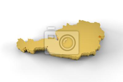 3d Karte Osterreich.Fototapete Osterreich Karte Gold 3d Mit Beschneidungspfad