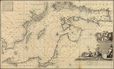 Fototapete Ostsee Jahrgang Karte