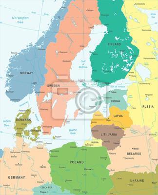 ostsee karte Ostsee karte   vektor illustration fototapete • fototapeten