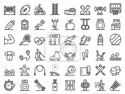 Fototapete Outdoor fitness icons set. Outline set of outdoor fitness vector icons for web design isolated on white background