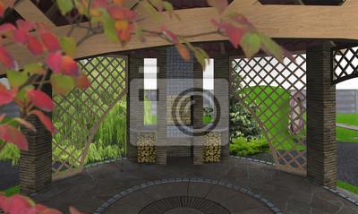 Outdoor Küche Ideen : Outdoor küche pavillon ideen d render fototapete u fototapeten