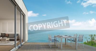 Fototapete Outdoor Restaurants, Strand Haus Mit Meerblick In Modernem Design    3D