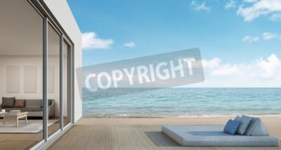 Fototapete Outdoor Wohn , Strand Haus Mit Meerblick In Modernem Design   3D