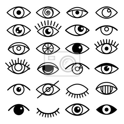 Fototapete Outline eye icons. Open and closed eyes images, sleeping eye shapes with eyelash, vector supervision and searching signs