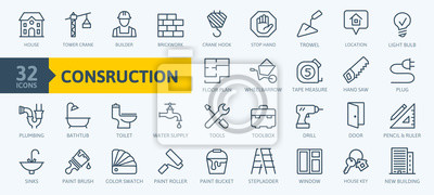Fototapete Outline web icons set - construction, home repair tools. Thin line web icons collection. Simple vector illustration.