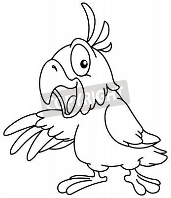 Outlined cartoon papagei präsentiert mit seinem flügel. vektor ...