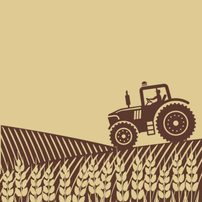 Fototapete Ovalen Etikett mit der Landschaft. Traktor auf dem Feld