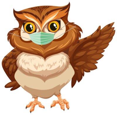 Owl cartoon character wearing mask