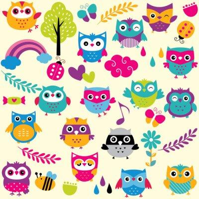 Fototapete owls and elements clip art set