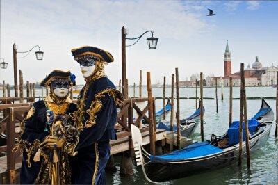 Fototapete Paar in Karneval-Maske in Venedig.