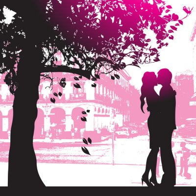 Paar unter dem Baum im Stadtpark