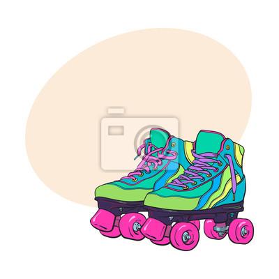 roller vintageretro stilhand Paar skatesskizze quad 1uKcF5JTl3