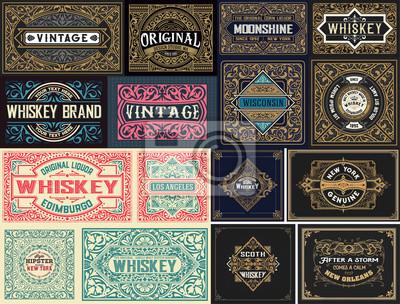 Fototapete Pack of 16 vintage labels.