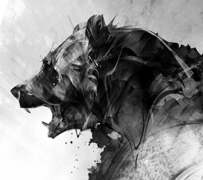 Fototapete painted portrait of a beast bear in monochrome
