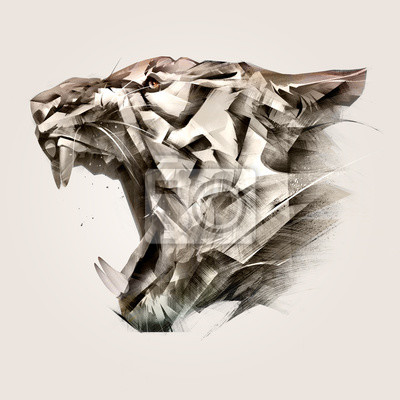 Fototapete painted portrait of animal tiger muzzle side