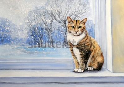 Fototapete Paintings, watercolor.Cat, window, winter, home, animal.