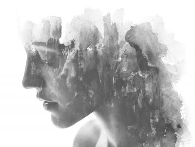 Fototapete Paintography. Double exposure. Close up of an attractive model combined with hand drawn ink and watercolor painting with overlapping brushstroke texture, black and white