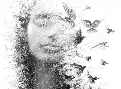 Fototapete Paintography. Double Exposure portrait of an elegant woman with closed eyes combined with hand made pencil drawing of a flock of birds flying freely resembling disintegrating particles of her being