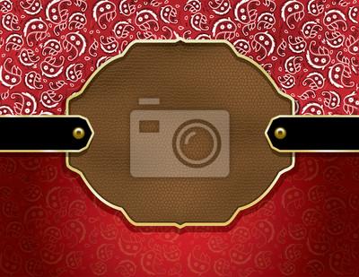 Paisley und Leder dekorative Abzeichen Hintergrund