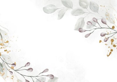 Fototapete Pale watercolor leaves on white background - vertical botanical design banner. Floral pastel watercolor, vintage style