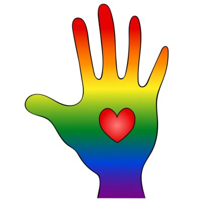 Palm and heart. Symbolism of the LGBT Rainbow Flag. Vector illustration. Hand on an isolated white background. The personification of pride and openness. International symbol. Idea for web design.