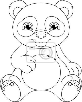 Panda coloring page fototapete • fototapeten Panda, sitzen, weißem ...