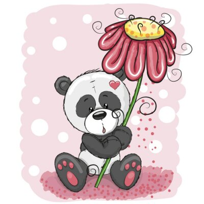 Fototapete Panda mit Blumen