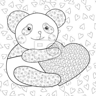 Panda mit herz kid färbung buch seite. fototapete • fototapeten ...