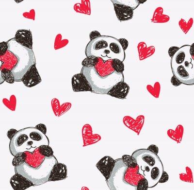 Fototapete Panda mit Herz nahtlose Hintergrund