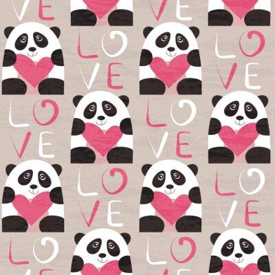 Fototapete Panda mit Herz nahtlose Muster