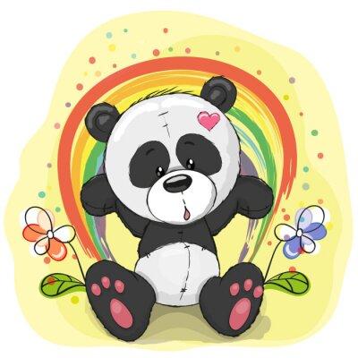 Fototapete Panda mit Regenbogen