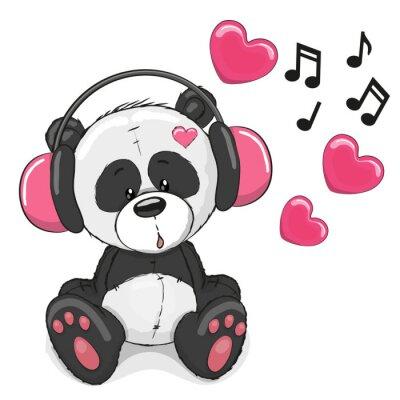 Fototapete Panda with headphones