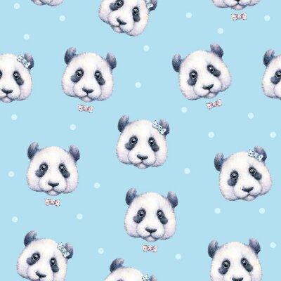 Fototapete Pandas auf hellblauem Hintergrund. Nahtlose Muster. Aquarellzeichnung. Kinder-Abbildung. Handarbeit