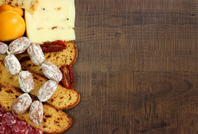 Fototapete Pane,salumi e formaggi