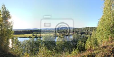 Panorama-Blick auf einen Fluss (Halga) in Värmland