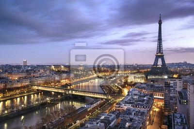 Fototapete Panorama de la ville de Paris avec la Tour Eiffel