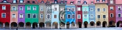 Fototapete Panorama der Fassaden der Häuser des alten Poznan, Polen