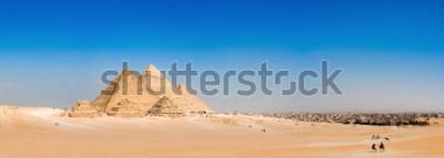 Fototapete Panorama der Gegend mit den großen Pyramiden von Gizeh, Ägypten