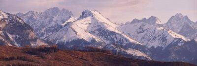Fototapete Panorama der schneebedeckten Tatra Berge im Frühjahr, Südpolen