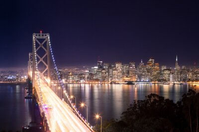 Fototapete Panorama di San Francisco Bay Bridge e di notte