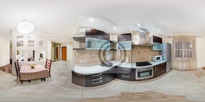 Panorama Im Interieur Stilvolle Kuche In Moderner Wohnung In