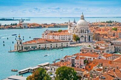 Fototapete Panorama-Luftstadtbild von Venedig mit Santa Maria della Salute Kirche, Venetien, Italien