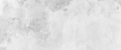 Fototapete Panorama of Old cement wall painted white, peeling paint texture and background