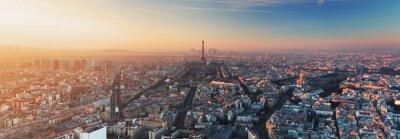 Fototapete Panorama of Paris at sunset