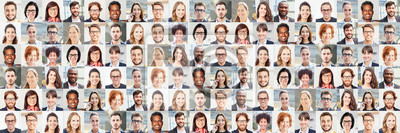 Fototapete Panorama Portrait Collage von Geschäftsleuten