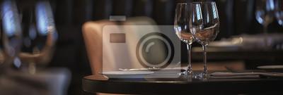 Fototapete panorama restaurant setting / long narrow background interior cafe cutlery