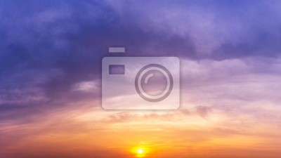 Fototapete Panorama twilight sky and sun nature background