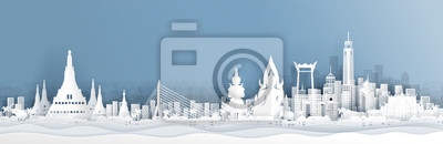 Fototapete Panorama view of Thailand skyline with world famous landmarks in paper cut style vector illustration